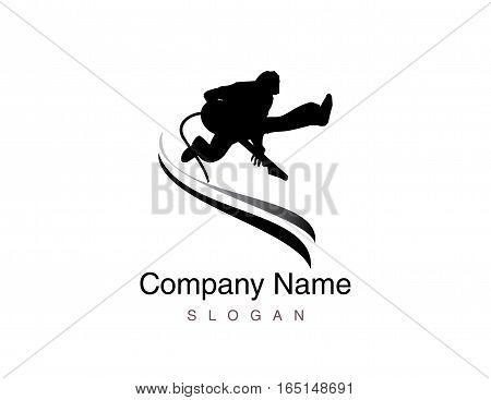 Rock music player logo on white background