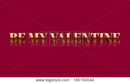 Be My Valentine Golden Vector Drawn Card.
