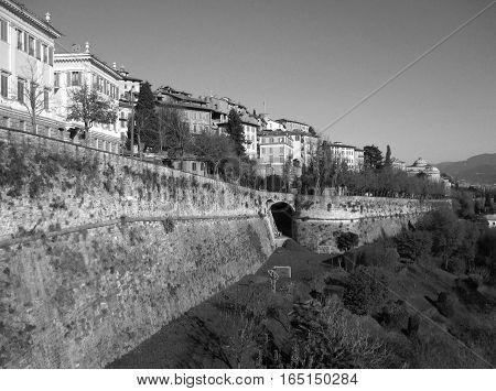 Monochrome Cityscape of Citta Alta, the Upper Town of Bergamo, Northern Italy