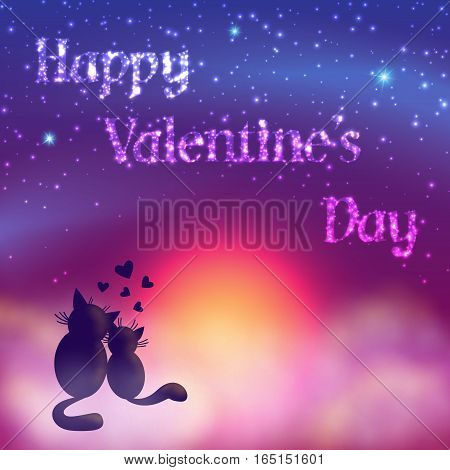 Romantic Valentines Day Card Of Cute Cats.