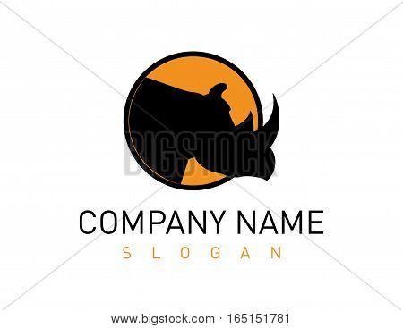 head rhino orange and black logo on white background