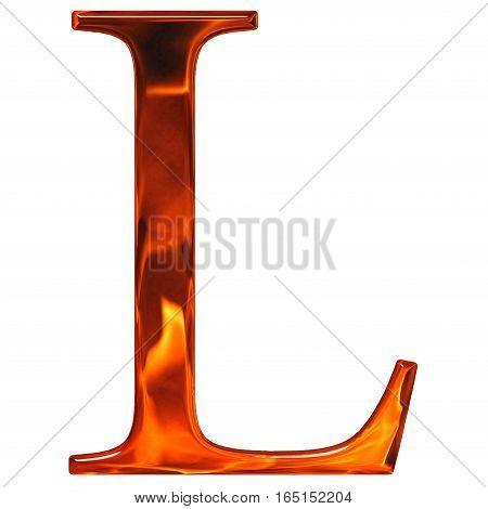 Uppercase Letter L - The Extruded Of Glass With Pattern Flame, Isolated On White Background