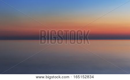 The old structure in the Caspian Sea at sunset.Azerbaijan