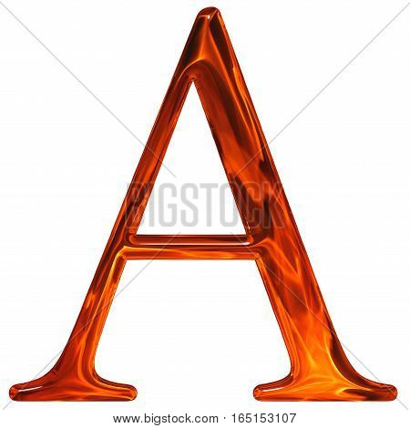 Uppercase Letter A - The Extruded Of Glass With Pattern Flame, Isolated On White Background