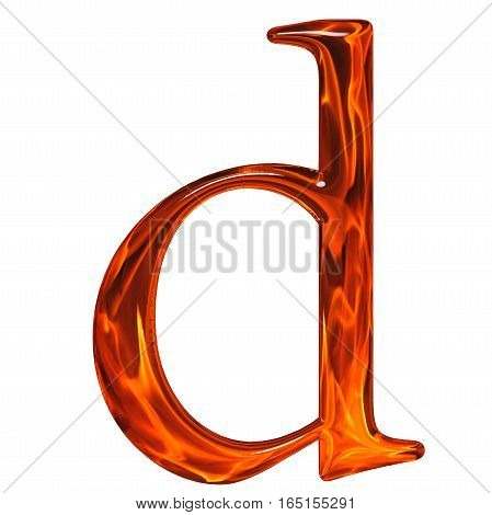 Lowercase Letter D - The Extruded Of Glass With Pattern Flame, Isolated On White Background