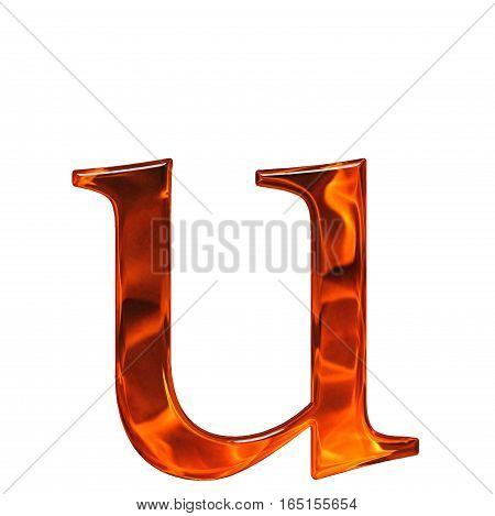 Lowercase Letter U - The Extruded Of Glass With Pattern Flame, Isolated On White Background