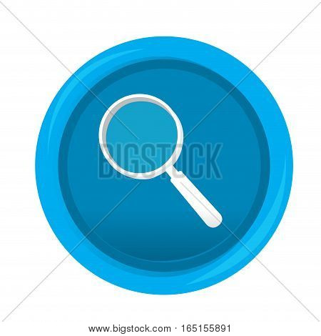 Isolated web pin with a magnifying glass icon, Vector illustration