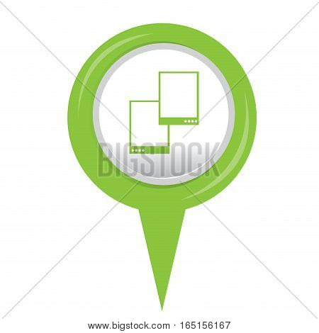 Isolated web pin with a smartphone icon, Vector illustration