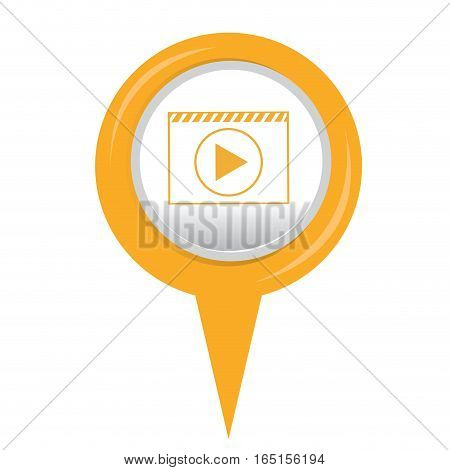 Isolated web pin with a play button, Vector illustration