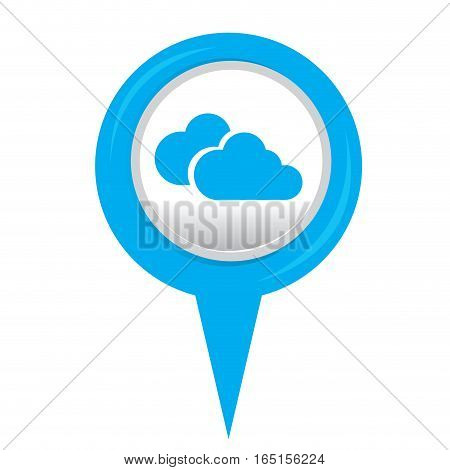 Isolated web pin with a cloud computing icon, Vector illustration