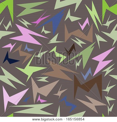 seamless pattern, unusual colorful geometrical figures on a brown background, vector illustration