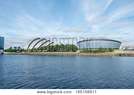 Glasgow, Scotland - 17 September 2016 : Clyde Auditorium, The Sse Hydro And Buildings Along Clyde Ri