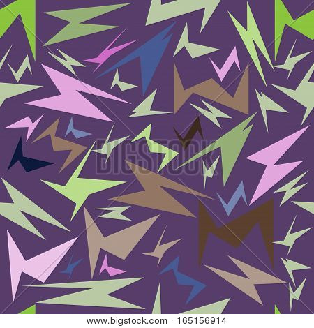 seamless pattern, unusual colorful geometric shapes on a purple background, vector illustration