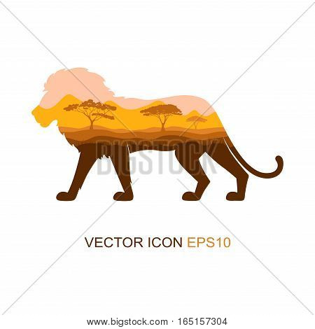 Silhouette of a lion. Vector illustration. Logo. Lion profile side view.