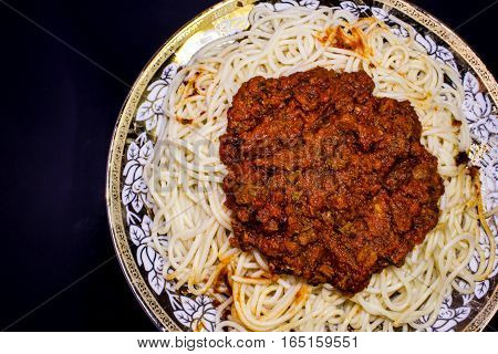 Italian pasta with tomato sauce and minced meat