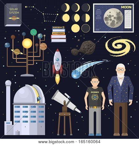 Astronomy icons solar system stickers set. Cute cartoon planets and sun system. Astronom scientist and boy