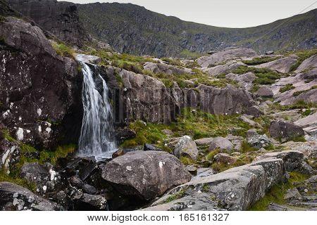 Waterfall in country Ireland following Atlantic Coastline