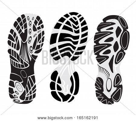 footprint sport shoes vector set  footmarks sneakers