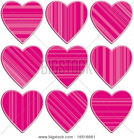 Set of striped hearts