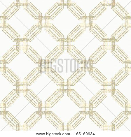 Geometric repeating ornament with octagonal dotted elements. Seamless abstract modern pattern. Golden and white pattern