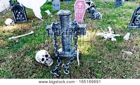 Halloween decorations scattered around in a yard