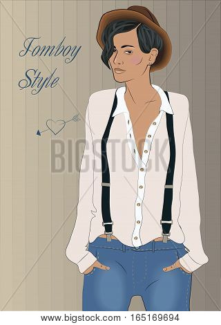 Hipster Girl. Tomboy style inscription. Vintage fashion. White shirt blue jeans brown hat black suspenders. Illustration.