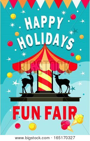 vector illustration cheerful children carousel of fun fairs and carnivals tsvtnom festive background