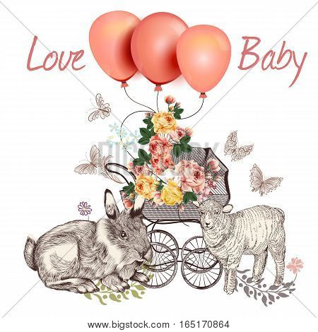 Baby fashion greeting card with pram in vintage style rabbit sheep roses and balloons