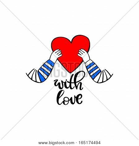 Red heart in hands. With love. Isolated vector objects on white background.