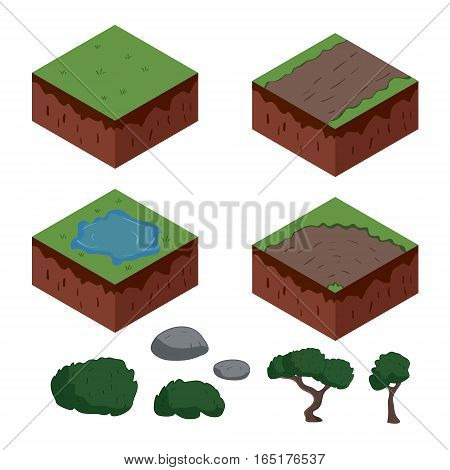 Set of cartoon isometric ground elements for games. vector illustration