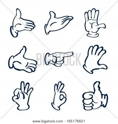 Cartoon gloved hands. Vector clip art illustration