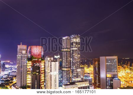 night cityscape in the twilight time in singapore - can use to display or montage on product