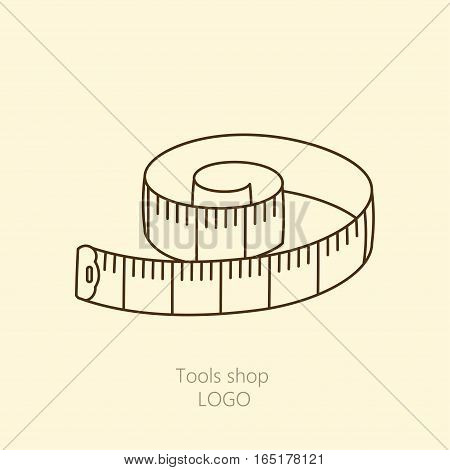 Vector thin libe measuring tape of the tailor for you design isolated