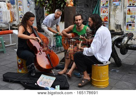 PENANG MALAYSIA-29 DECEMBER 2016: Street musicians playing on the street in Georgetown Penang
