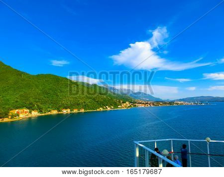 The View from cruise liner, Kotor Bay, Montenegro