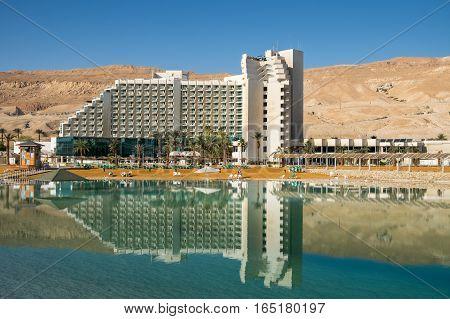 DEAD SEA ISRAEL - JANUARY 06 2017: The hotels at Dead sea beach. Israel