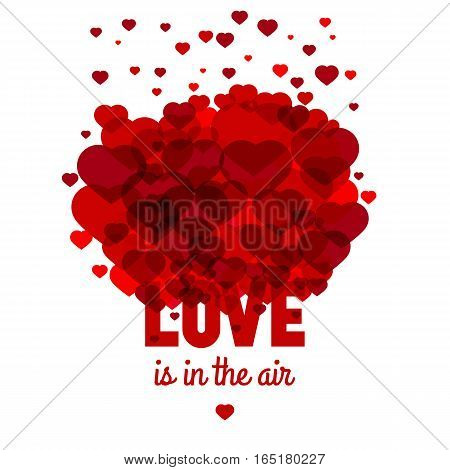 Love is in the air - greeting card for st. Valentine's day celebration. Vector template.