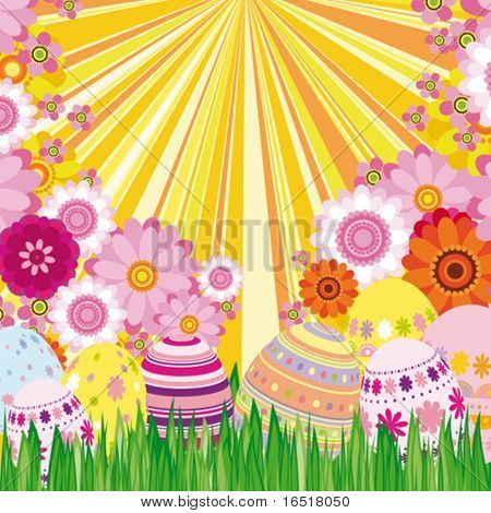 Vector Floral background with Easter eggs