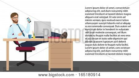 Successful businessman having rest on workplace in office. Vector Man manager sits on a chair, his feet on the table