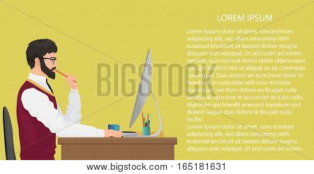 Modern young office worker using computer. Front view. Businessman working at his office desk. Work concept vector background