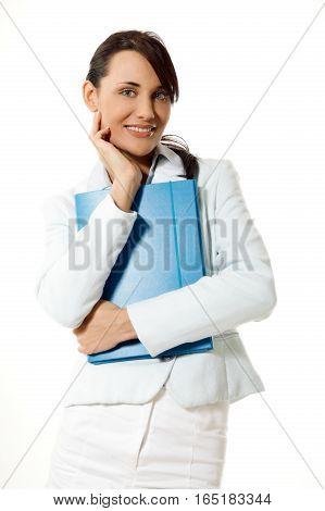 Happy office worker. Career business work in office