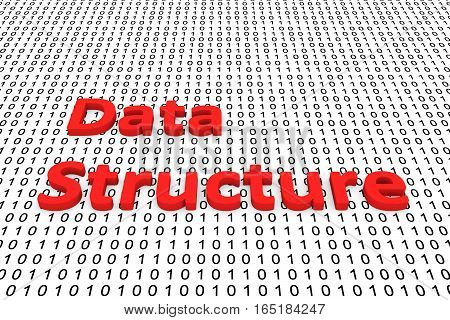 data structure in the form of binary code, 3D illustration