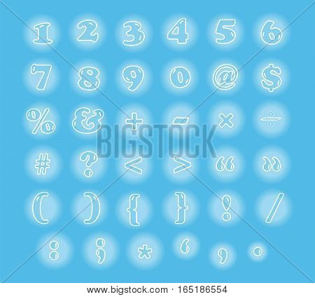 cute numbers and signs font vector illustration set showing in glowing bubble on light blue background