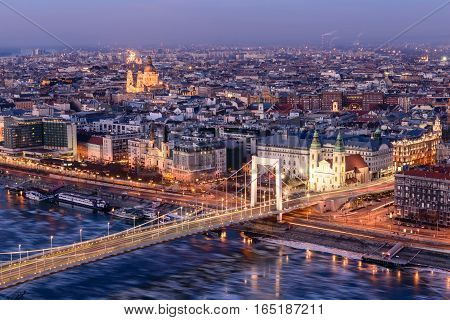 Aerial night view of Budapest from the Gellert hill, Danube river and Elisabeth bridge, Hungary