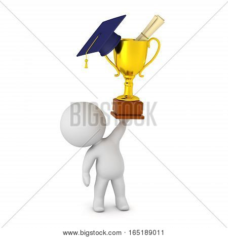 3D character holding up a golden trophy with a graduation hat and a diploma. Isolated on white background.