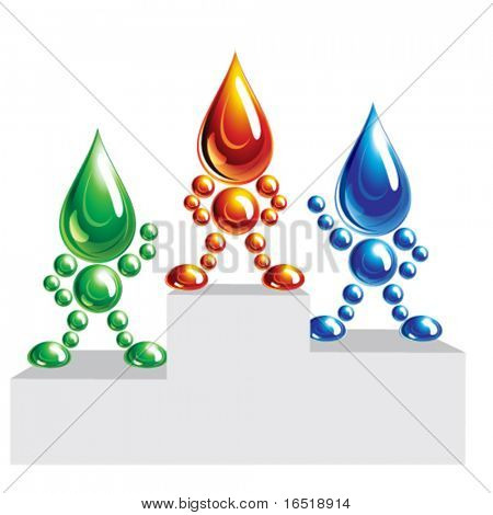 Oil, water and eco man on a podium. icon, Eps10.