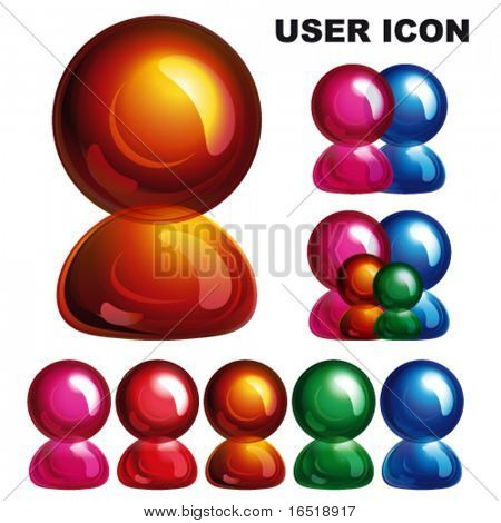 Glossy user icon, Eps10.
