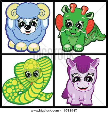 Vector Set of Little Animals -  symbols of the Chinese horoscope.  Part Two.