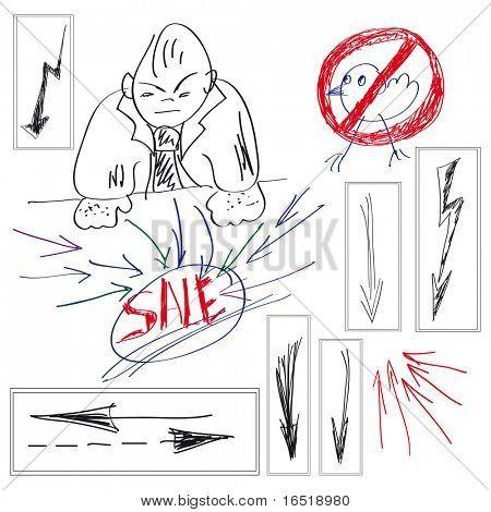 Set of elements for design. Arrow Doodles.
