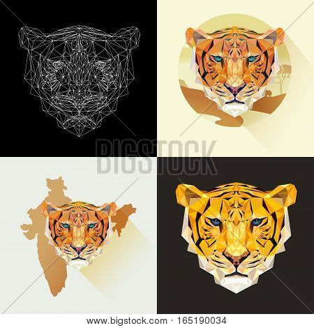 Dangerous mammal animal. Vector set tigers in polygonal style. Predatory animal. Tiger face for tattoo, wallpaper, poster and printing on t-shirts. Tigers low poly image.